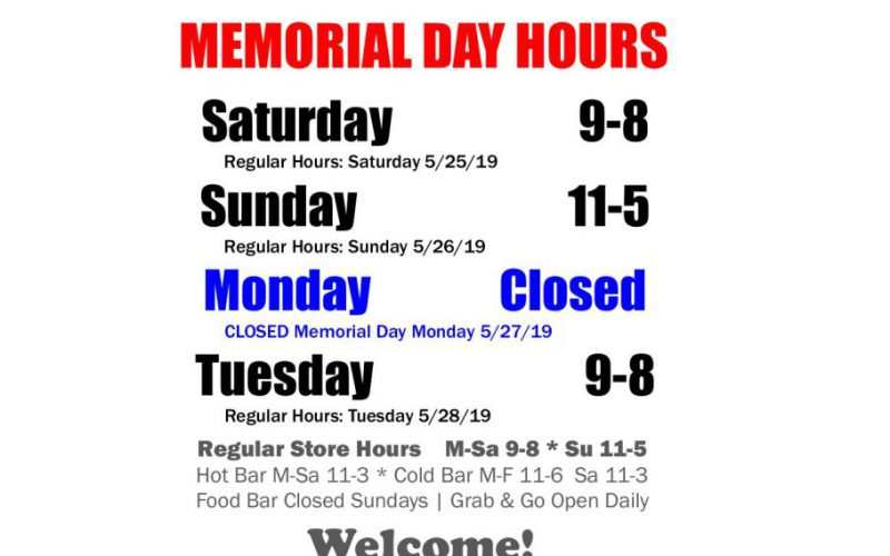 2019 Memorial Day Holiday Hours
