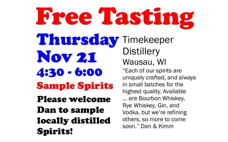 Free Tasting Thursday 11-21-19