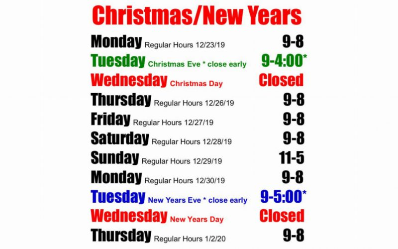 Christmas/New Years Store Hours