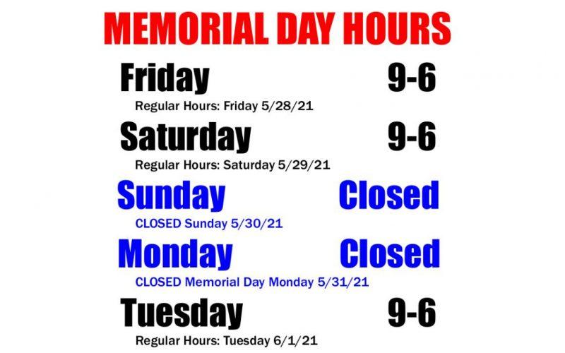 HOURS: Memorial Weekend