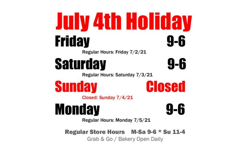 HOURS: July Fourth